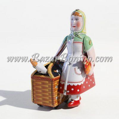 FP0040 - Donna con Oche in Cesta in Latta