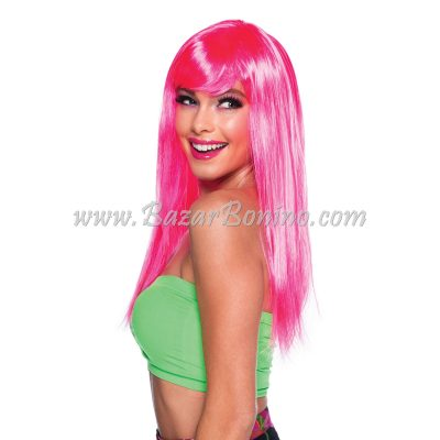 WGBW876 - Parrucca Rosa Neon Lunga Passion