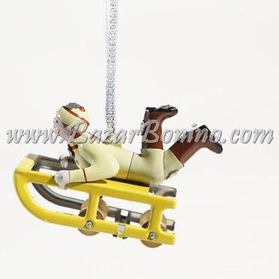 FP0190 - Slitta con personaggio Decorativo in Latta